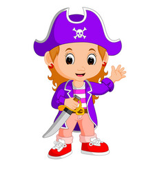 kids girl pirate cartoon vector image