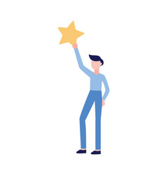man holding a star icon rating vector image