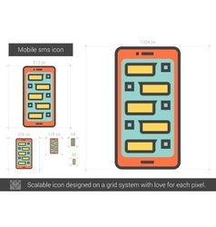 Mobile sms line icon vector image