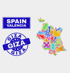 Mosaic industrial valencia province map and grunge vector