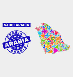 Mosaic tools saudi arabia map and scratched arabia vector