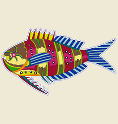 multi-colored fat monster fish with a big thorn vector image