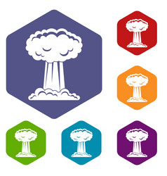 Mushroom cloud icons set hexagon vector
