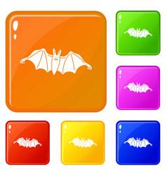 night bat icons set color vector image