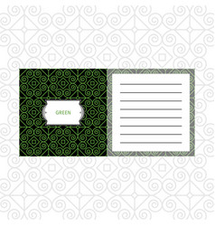Notepad design with green geometric pattern vector