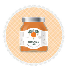 Orange jam label packaging vector