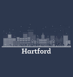 outline hartford connecticut usa city skyline vector image