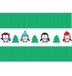 penguins with christmas trees vector image