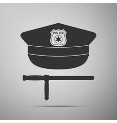 Police cap and baton flat icon on grey background vector image