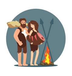 Primitive people cooking dinner on open fire vector