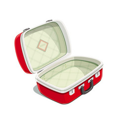 Red open suitcase for travel vector