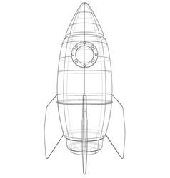 Rocket sketch rendering of 3d vector