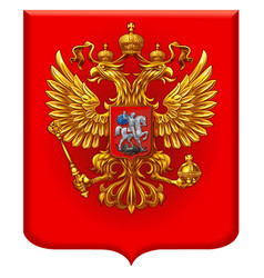 Russian coat arms on a red shield vector