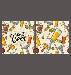 seamless pattern beer tap class can bottle vector image