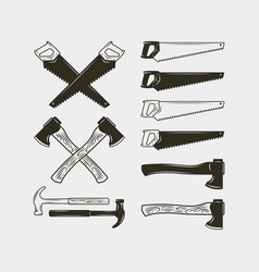 set carpentry tools wood work equipment vector image