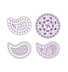 set of mandalas diwali festival vector image