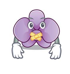 Silent orchid flower mascot cartoon vector