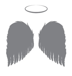 Silhouette angel wings and halo vector