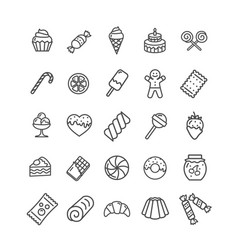 Sweets and bakery icon black thin line set vector