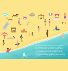 top view of people at beach vector image