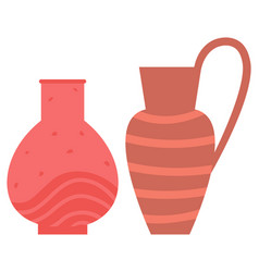 Vase and amphora flowerpot decoration set vector
