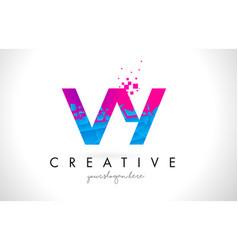 vy v y letter logo with shattered broken blue vector image