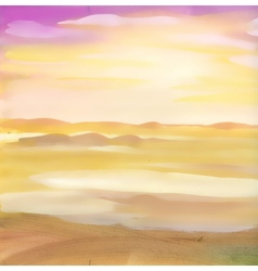 Watercolor desert sand landscape vector