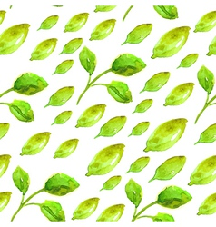Watercolor seamless pattern with green leaf vector image