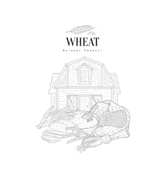 Wheat Grain Flour And Farm Hand Drawn Realistic vector
