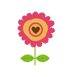 white background with magenta sunflower with vector image