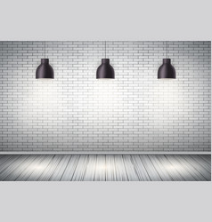 white brick wall room with vintage lamps vector image