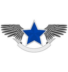 winged blue star logo vector image vector image