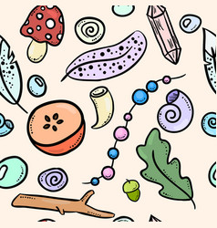 witch boho items colorful doodles seamless pattern vector image