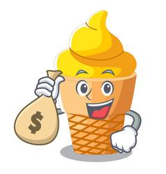 with money bag scoop banana ice cream with cartoon vector image