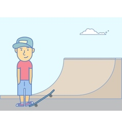 Young smiling guy with skateboard vector image