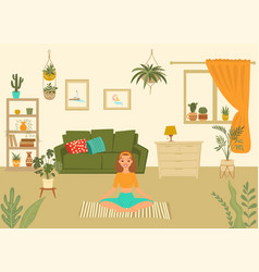 young woman in yoga pose at home meditating vector image