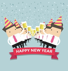 Businessman happy newyear party vector image vector image
