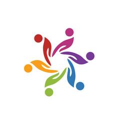 hands teamwork logo image vector image