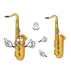 Happy cartoon saxophone instrument character vector image vector image