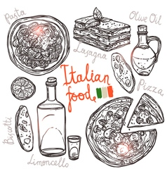 Italian Hand Drawn Food Collection vector image vector image