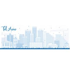 Outline tel aviv skyline with blue buildings vector