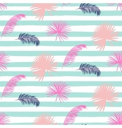 Pink banana palm leaves striped blue seamless vector image vector image