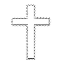 silhouette wooden cross with swirl decorative vector image