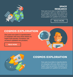 space research and cosmos exploration promotional vector image