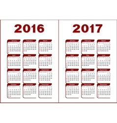 Calendar 2016 2017 vector