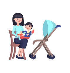 happy mother feeds little son flat vector image vector image