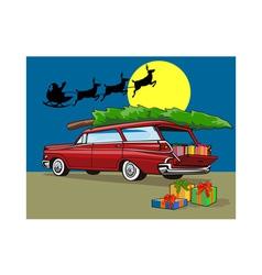 Station wagon christmas with santa on sleigh vector