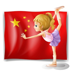 A gymnast in front of the Chinese flag vector image