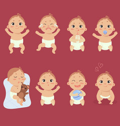 cute little baby in diaper with different emotions vector image