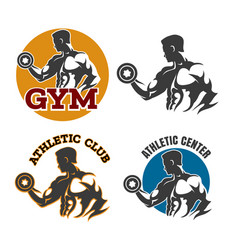gym or fitness emblem set vector image